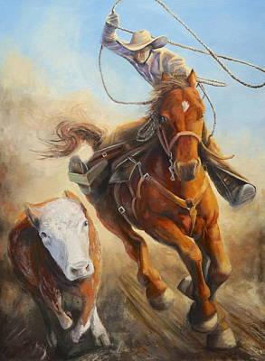 Steer Painting - Roper by Elizabeth Cockrell