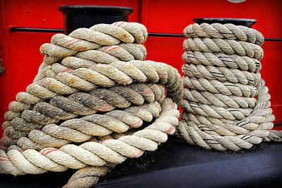 Ropes Of The Big Red Tug Print by Carol Toepke