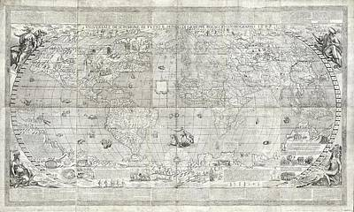 Maps Photograph - Rosaccio World Map by Library Of Congress, Geography And Map Division
