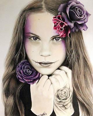 Sugar Skull Girl Drawing - Rosaline by Sheena Pike