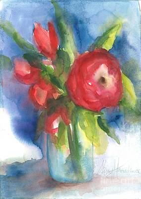 Rose Blooming Original by Sherry Harradence