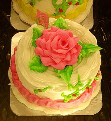 Sweet Digital Art - Rose Cakes by Amy Vangsgard
