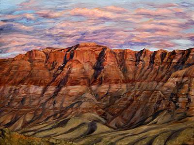 Desert Painting - Rose Colored Sunset by SJW Grogan
