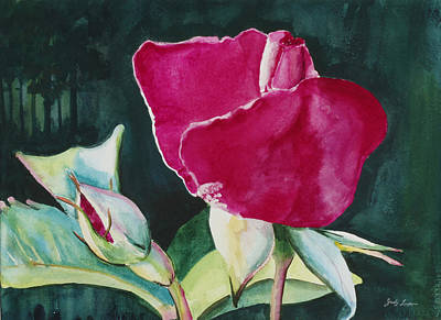 Rose Coming To Life Print by Judy Loper