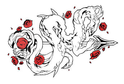 Rose Dragon Print by Miguel Karlo Dominado