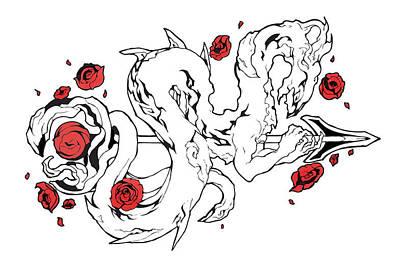 Epic Drawing - Rose Dragon by Miguel Karlo Dominado