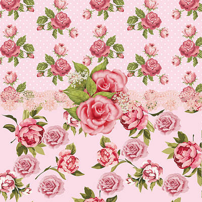 Pattern Digital Art - Rose Elegance by Debra  Miller