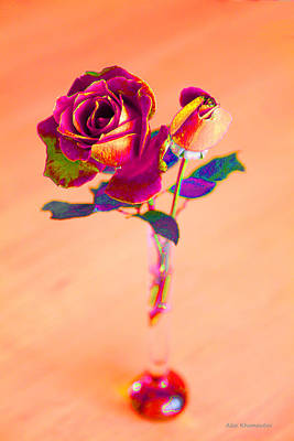 Rose For Love - Metaphysical Energy Art Print Print by Alex Khomoutov