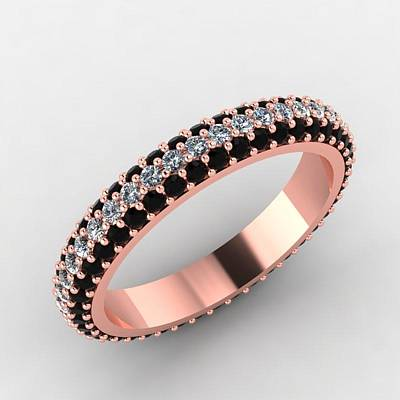 18k Jewelry - Rose Gold Black Diamond And White Diamond Eternity Band by Eternity Collection