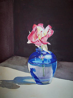 Rose In The Blue Vase II Print by Irina Sztukowski