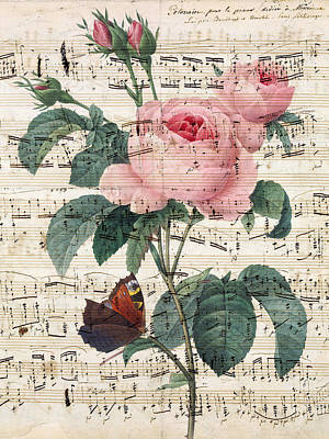 Redoute Digital Art - Rose Music by Evey Studios