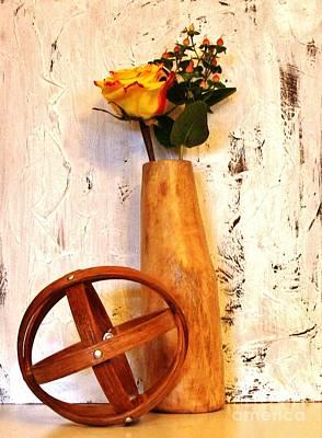 Mango Digital Art - Rose Sphere And Mango Wood Vase by Marsha Heiken