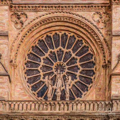 Notre Dame Digital Art - Rose Window Notre Dame Paris by Liz Leyden