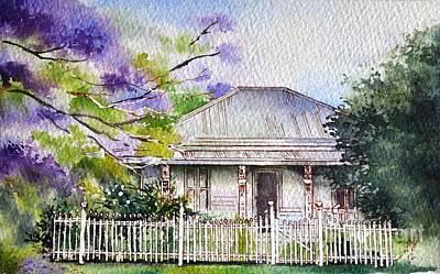 Jacaranda Painting - Roseabellas House Bellingen by Sandra Phryce-Jones