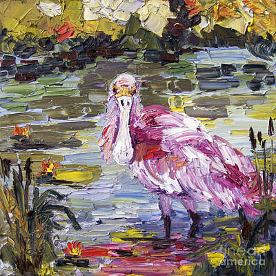 Spoonbill Painting - Roseate Spoonbill Florida Birds Oil Painting by Ginette Callaway