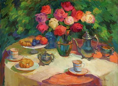 Wine Glasses Painting - Roses And Tea by Diane McClary