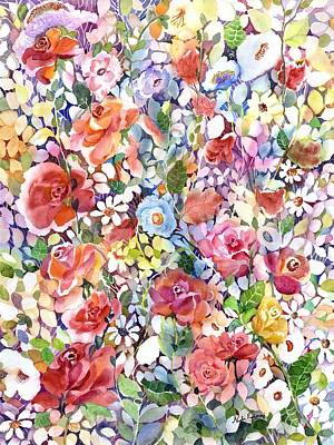 Blue And Red Painting - Roses Do Ramble by Neela Pushparaj