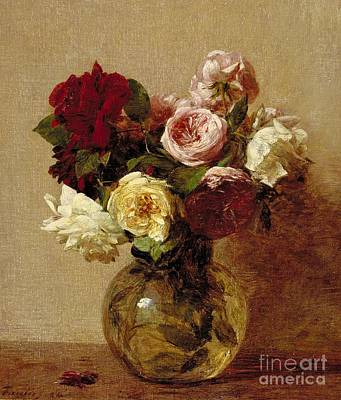 Arrangement Painting - Roses by Ignace Henri Jean Fantin-Latour
