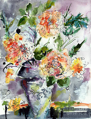Roses Impressionists Heirloom Watercolor Still Life  Print by Ginette Callaway