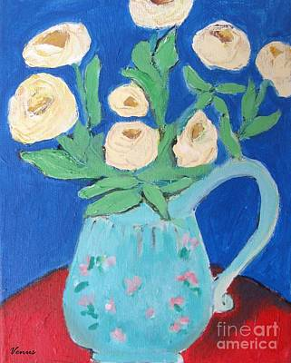 Painting - Roses In A Blue Pitcher by Venus