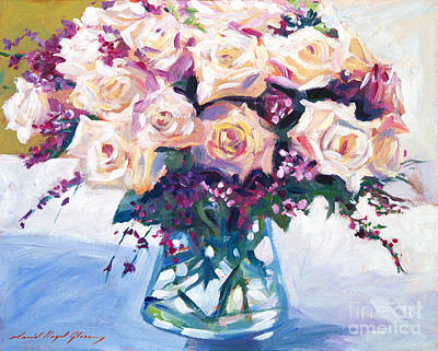 Glass Table Reflection Painting - Roses In Glass by David Lloyd Glover