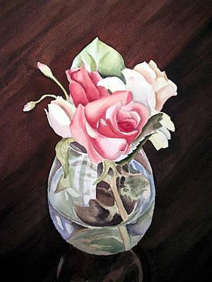 Roses In The Glass Vase Print by Irina Sztukowski