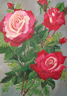 Wedding Bouquet Painting - Roses N' Rain by Sharon Duguay