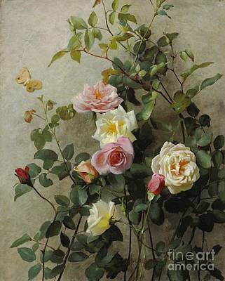 Beauty In Nature Painting - Roses On A Wall by George Cochran Lambdin