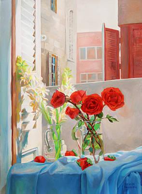 Life In Italy Painting - Roses On My Husband's Scarf by Natalia Baykalova