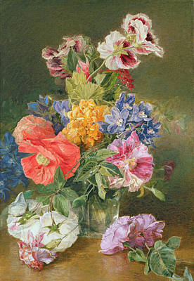 Gardener Painting - Roses Poppy And Pelargonia by James Holland
