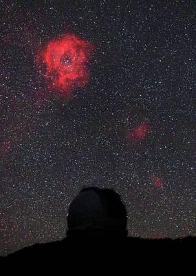 Stellar Photograph - Rosette Nebula And Telescope by Babak Tafreshi