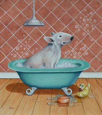 Dog Painting - Rosie In The Bliss Bubbles by Cynthia House