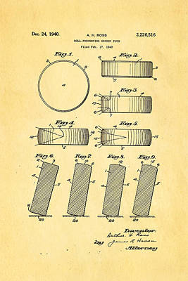 Hockey Games Photograph - Ross Ice Hockey Puck Patent Art 1940 by Ian Monk