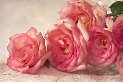 Lace Photograph - Rosy Elegance Digital Watercolor by Sandra Foster
