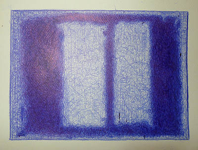 Rothko In Ballpoint Blue Black On Maroon Print by Ben Johansen