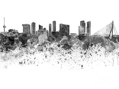Netherlands Painting - Rotterdam Skyline In Black Watercolor On White Background by Pablo Romero