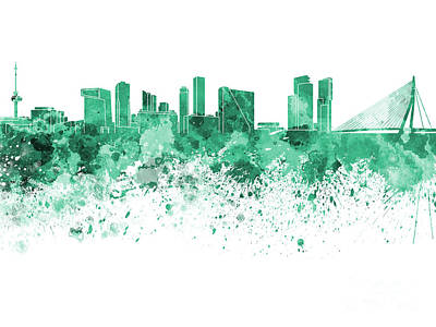 Netherlands Painting - Rotterdam Skyline In Green Watercolor On White Background by Pablo Romero