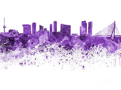 Netherlands Painting - Rotterdam Skyline In Purple Watercolor On White Background by Pablo Romero
