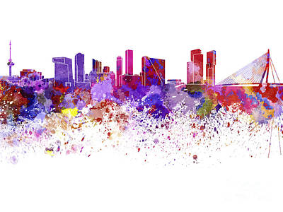 Netherlands Painting - Rotterdam Skyline In Watercolor On White Background by Pablo Romero