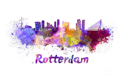 Netherlands Painting - Rotterdam Skyline In Watercolor by Pablo Romero