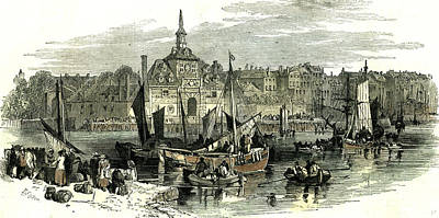 Nederland Drawing - Rotterdam The Netherlands 1847 by Dutch School