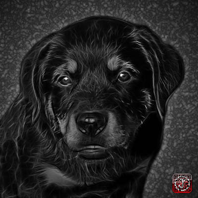Dog Painting - Rottweiler Pop Art 0481 - Bc1 - Greyscale by James Ahn