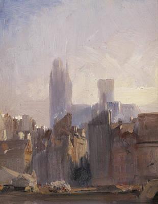 Rooftops Painting - Rouen Cathedral Sunrise by Richard Parkes Bonnington