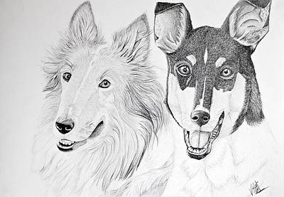 Rough And Smooth Collies Original by Emily Bemelmans
