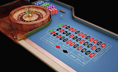 Roulette Table And Wheel Print by Leonello Calvetti