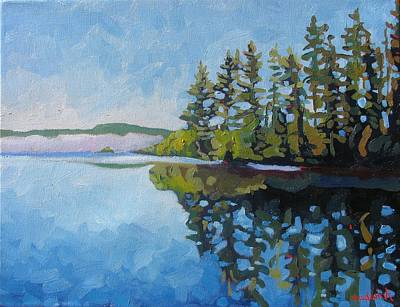 Physicist Painting - Round Lake Mirror by Phil Chadwick