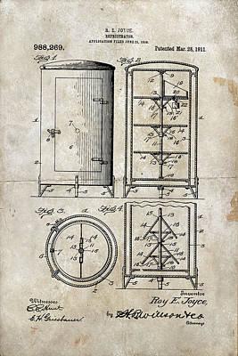 Decor Photograph - Round Refrigerator Patent 1911 by Paulette B Wright