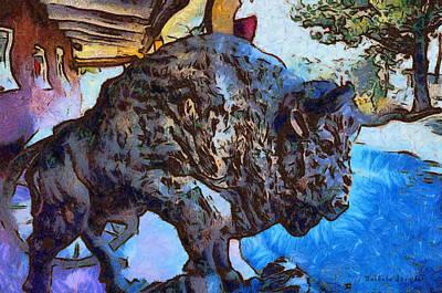 Round Up Market Buffalo Print by Barbara Snyder