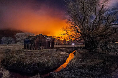 Shack Photograph - Round Fire by Cat Connor