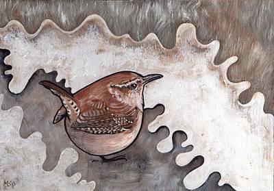 Wren Mixed Media - Round Wren by Helen Bennett